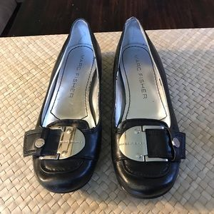 Marc Fisher Shoes - Marc Fisher black leather flats. Signature buckle